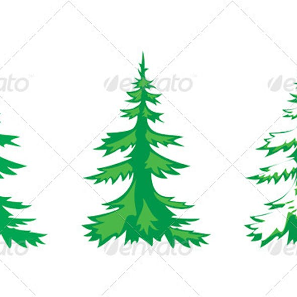Vector set of 3 fir-trees