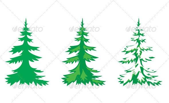 Vector set of 3 fir-trees - Flowers & Plants Nature