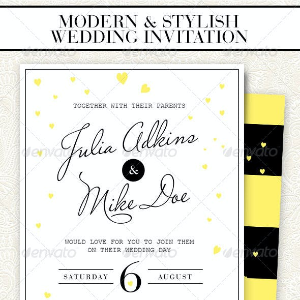 Modern & Stylish Wedding Invitation - 2 Versions