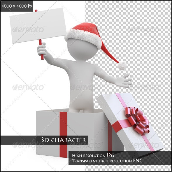 Man with Santa Hat and a Blank Card Leaving a Gift - Characters 3D Renders