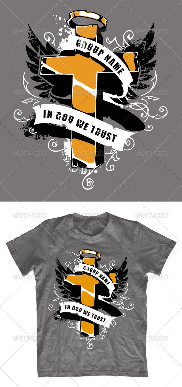 Grunge T-shirt design with cross - Church T-Shirts