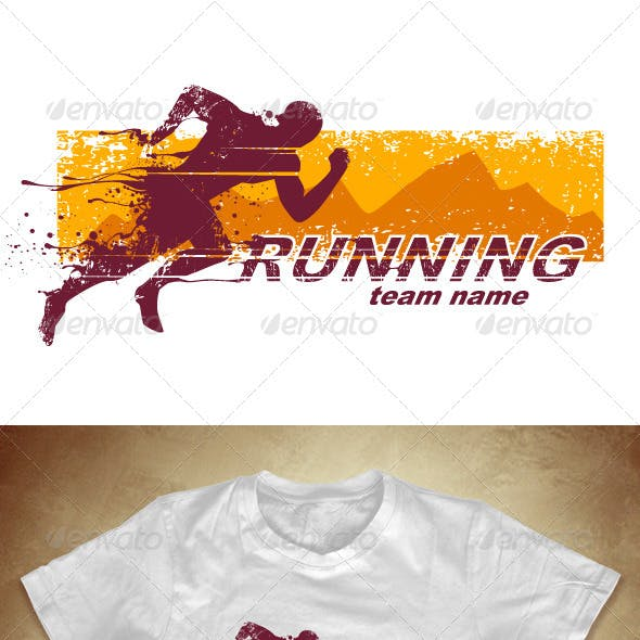 Grunge T-shirt design with running athlete