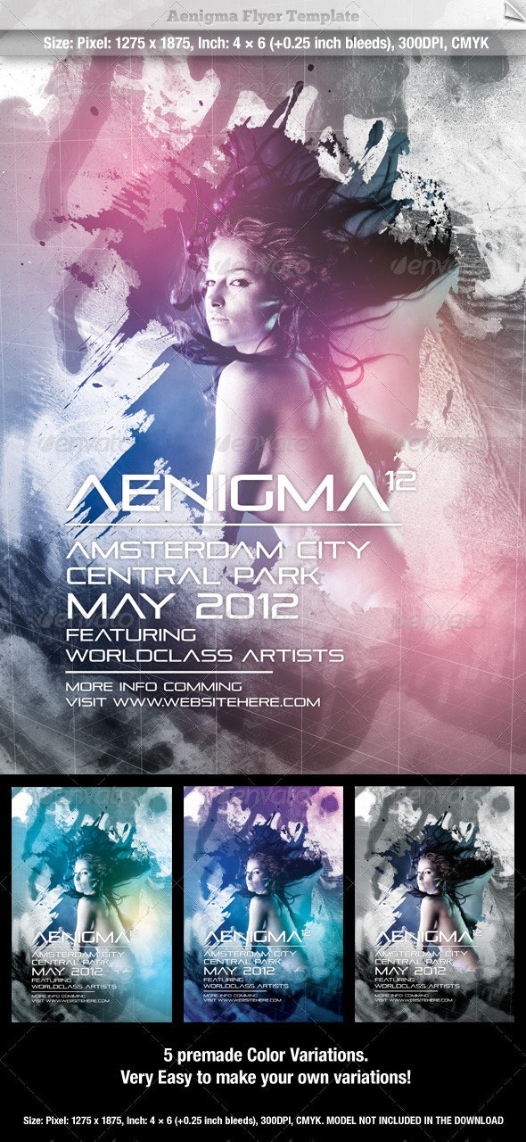 Aenigma Flyer Template - Clubs & Parties Events