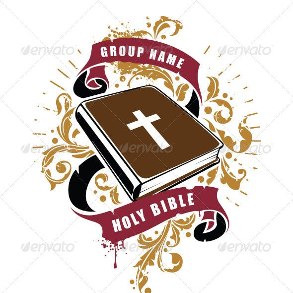 Grunge T-shirt design with Bible book