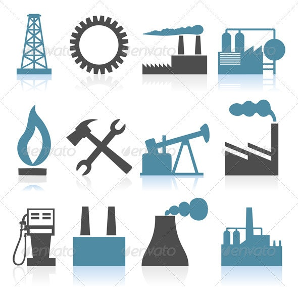 Industrial icons4 - Industries Business