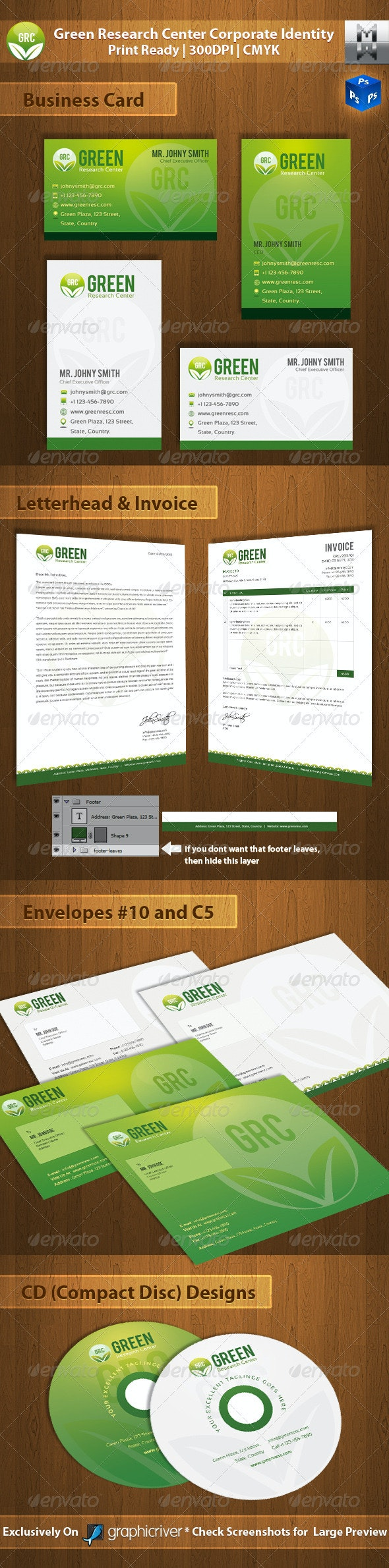 Green Research Center Corporate Identity - Stationery Print Templates