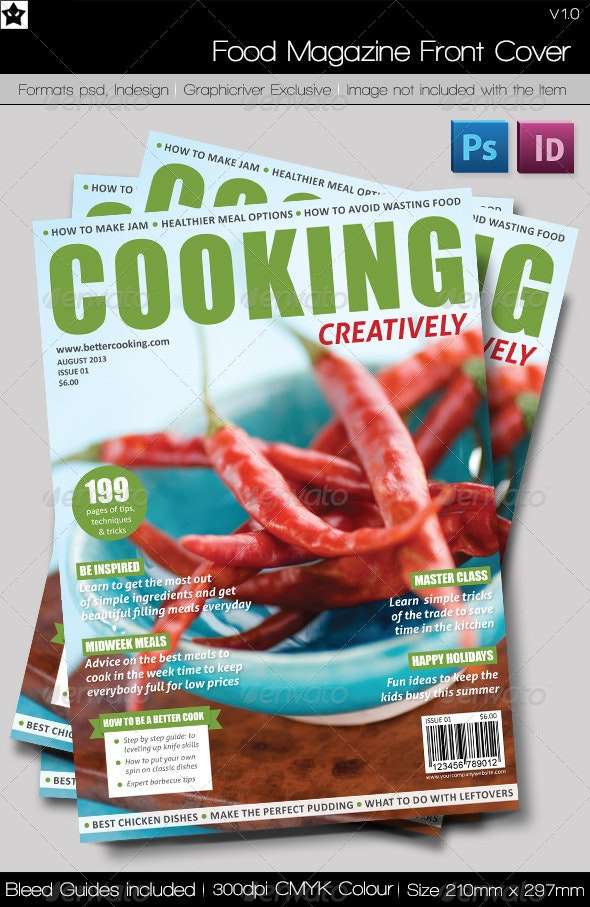 Food Magazine Front Cover  - Magazines Print Templates