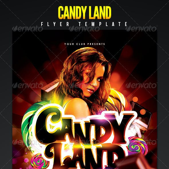 Candy Land VIP Party Night Flyer Template