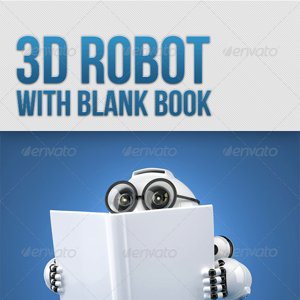 3D Robot reading a book with blank cover