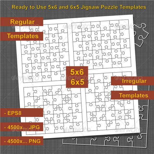 Jigsaw Puzzle 5x6 and 6x5 Blank Templates