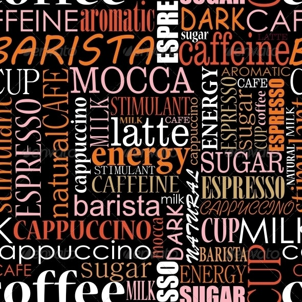 Seamless Background with Coffee Tags - Backgrounds Decorative