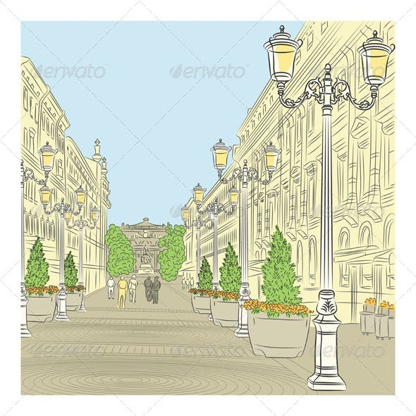 Cityscape of Wide Avenue in St. Petersburg