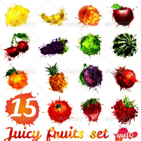 Set of 15 Fruits Made of Colourful Splashes
