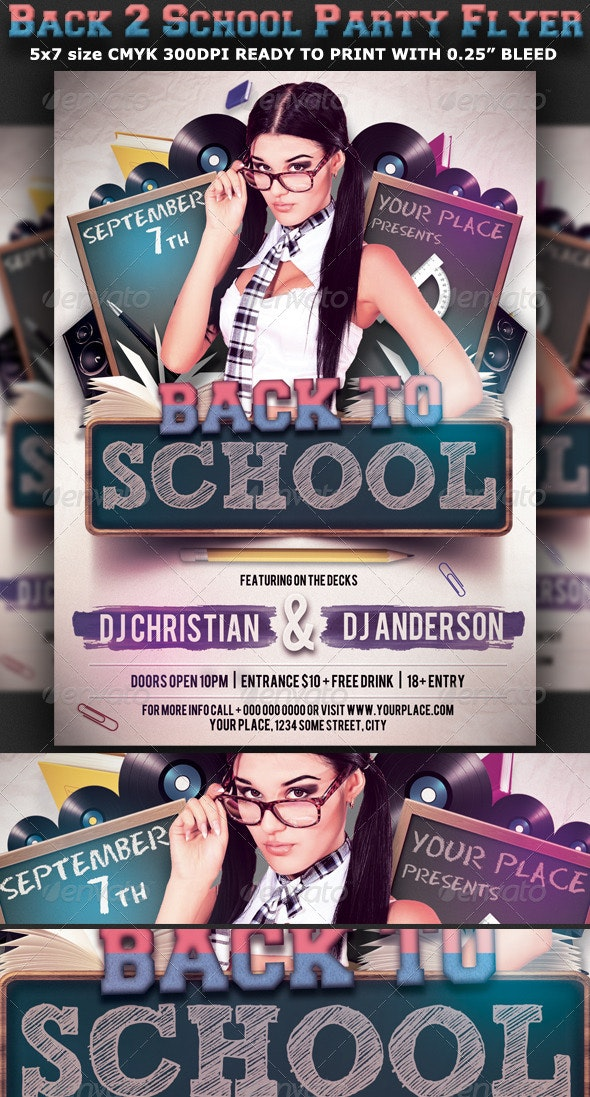 Back to School Party Flyer Template V3 - Clubs & Parties Events