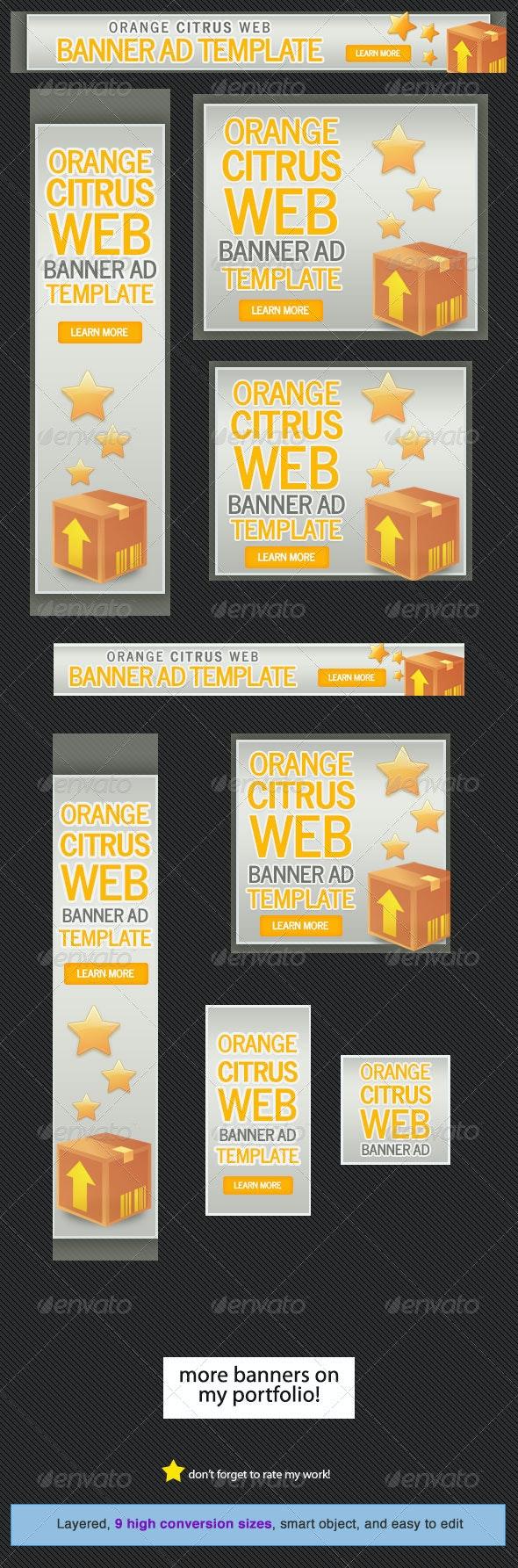 Orange Citrus Web Banner - Banners & Ads Web Elements