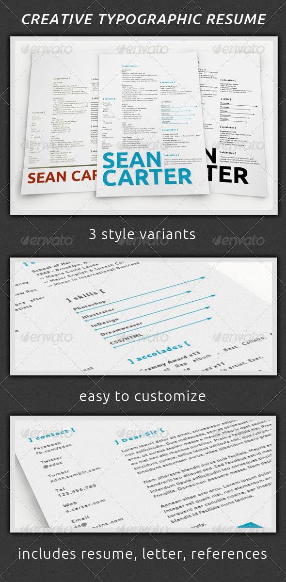 Creative Typographic Resume Set - Resumes Stationery