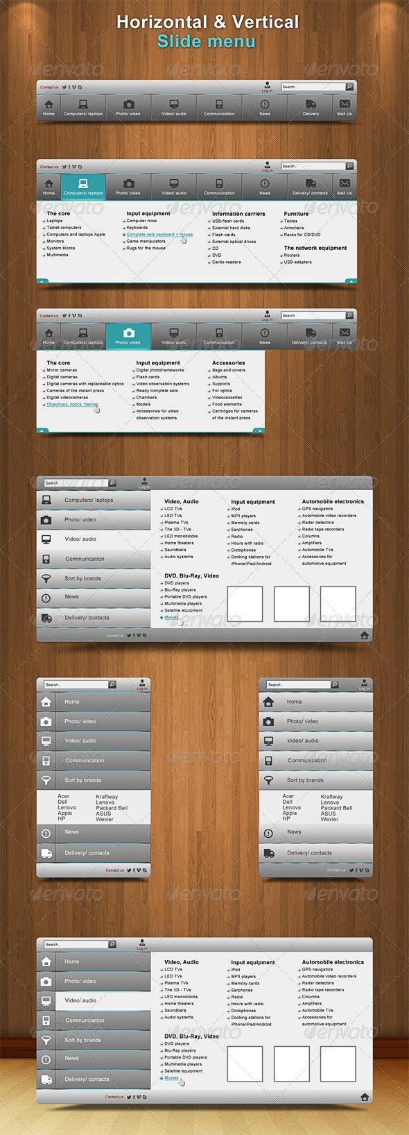 Slide Bars Menu - Navigation Bars Web Elements