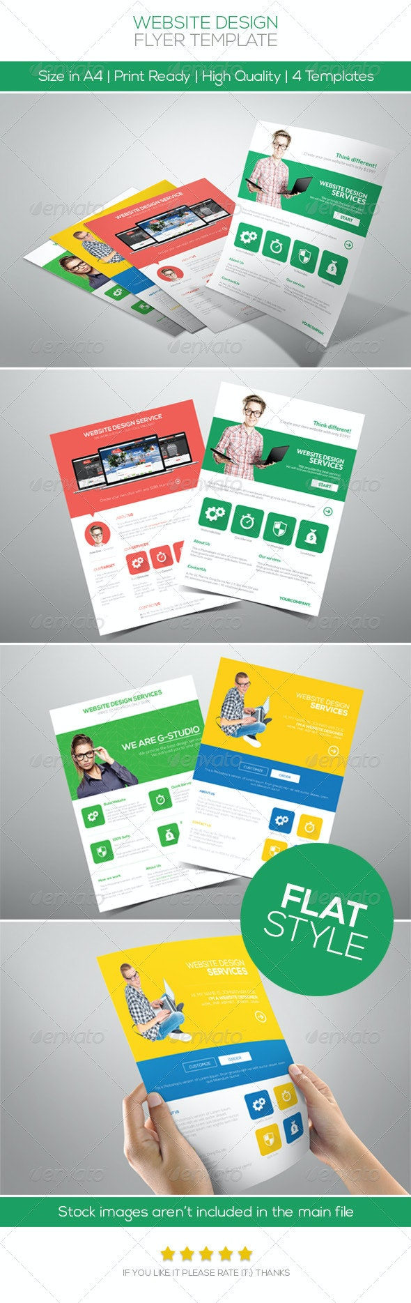 Flat Website Design Flyer - Commerce Flyers