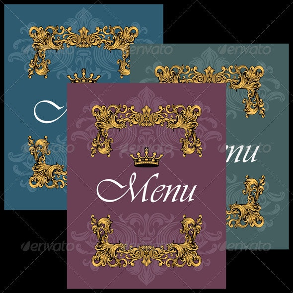 Vintage Menu Covers Design - Flourishes / Swirls Decorative