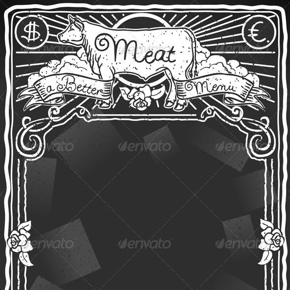 Vintage Graphic Blackboard for Meat Menu