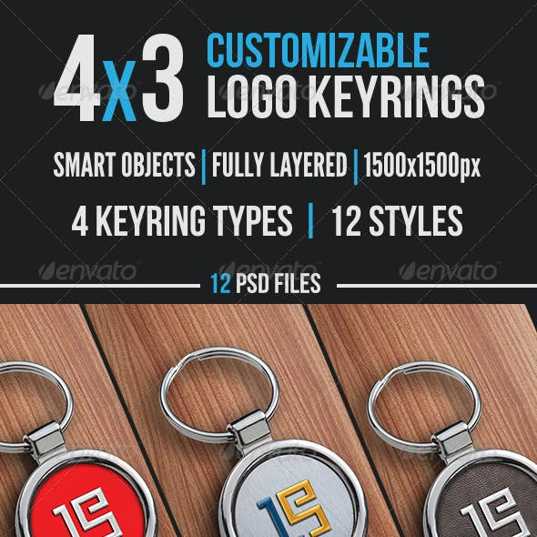 4x3 Logo key ring mockups