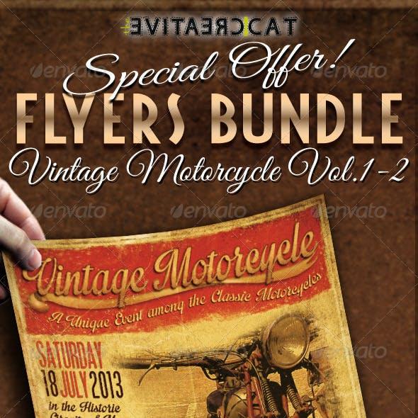 Vintage Motorcycle Flyer/Poster Bundle Vol. 1-2