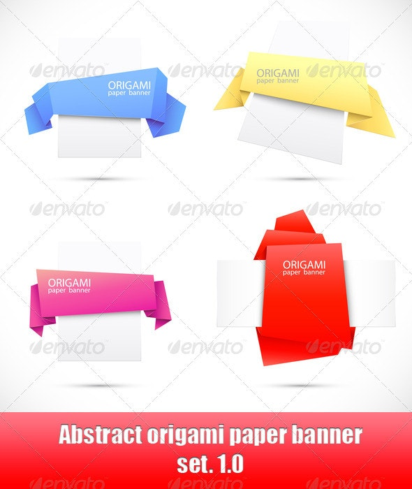 Abstract origami paper banner. Set 1.0 - Abstract Conceptual