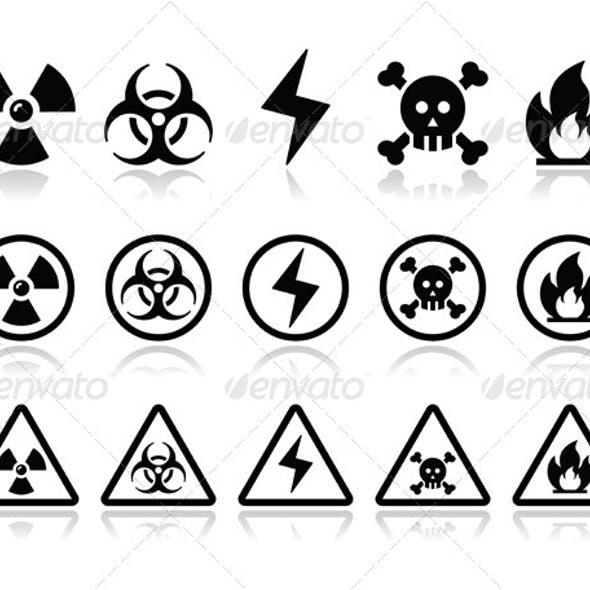 Danger Attention Icons Set