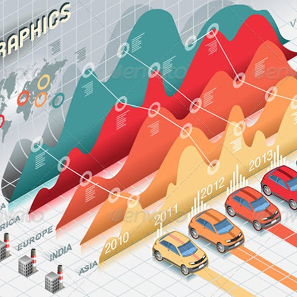 Isometric Infographic Histogram Elements with Cars