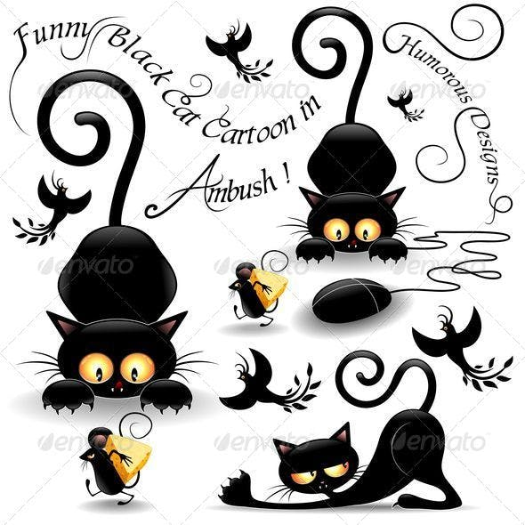 Cat Cartoon in Ambush with Mouse and Birds