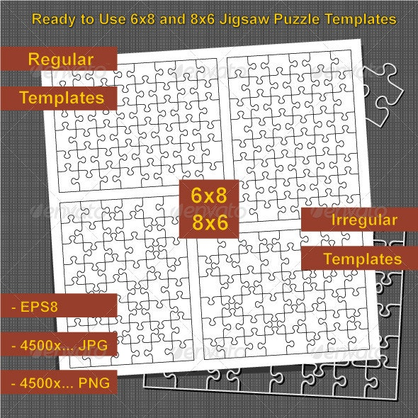 Jigsaw Puzzle 6x8 and 8x6 Blank Templates - Conceptual Vectors