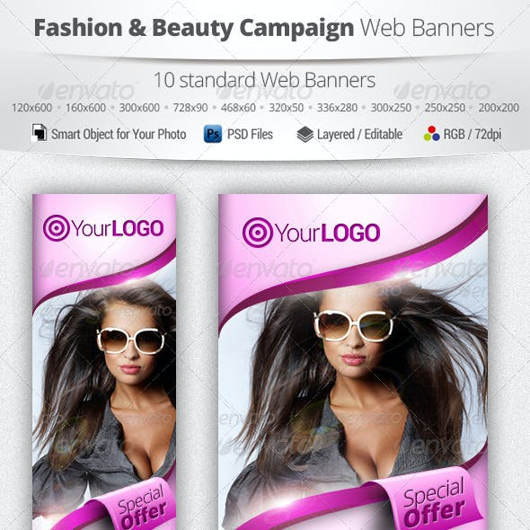 Fashion & Beauty Campaign Web Banners