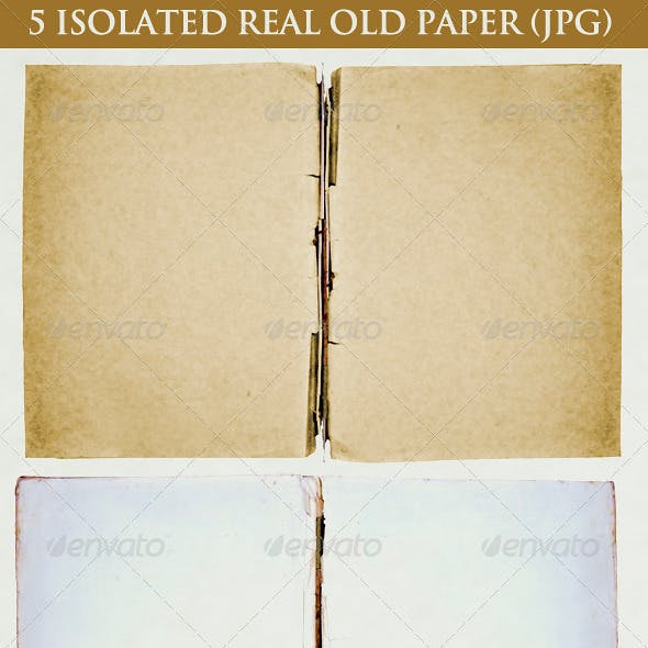 5 Isolated Real Old Paper
