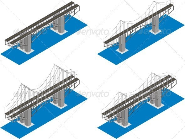 Isometric View Of The Bridge. - Buildings Objects