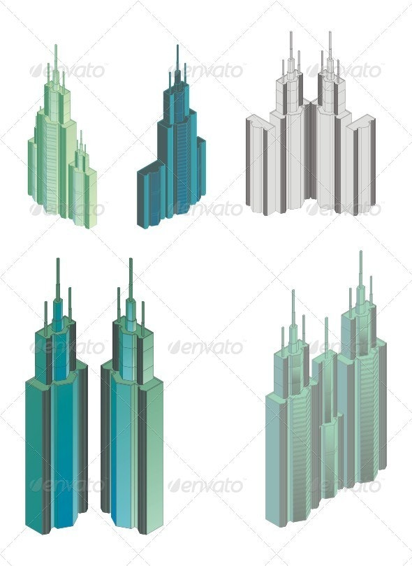 Isometric Projection Of A Skyskriper Building. - Buildings Objects