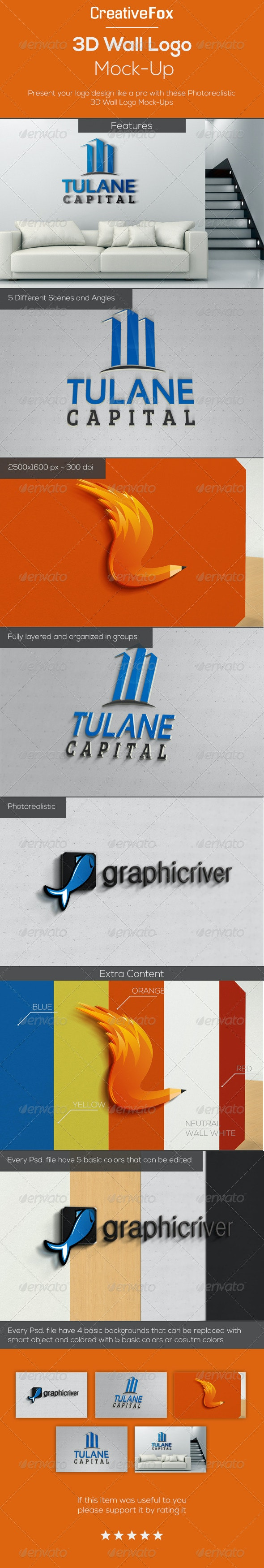 3D Wall Logo Mock-Up - Logo Product Mock-Ups
