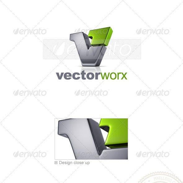 Letter V Logo 3D-744