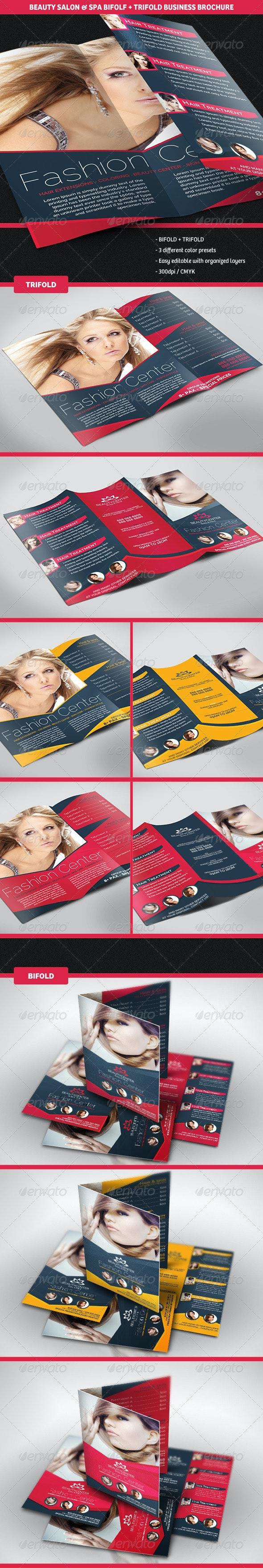 Beauty Center Bifold + Trifold Business Brochures - Corporate Brochures