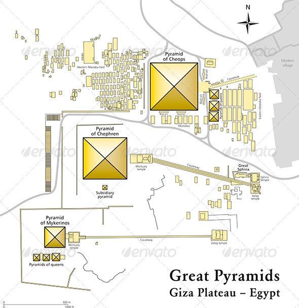 Pyramids of Giza Map - Travel Conceptual