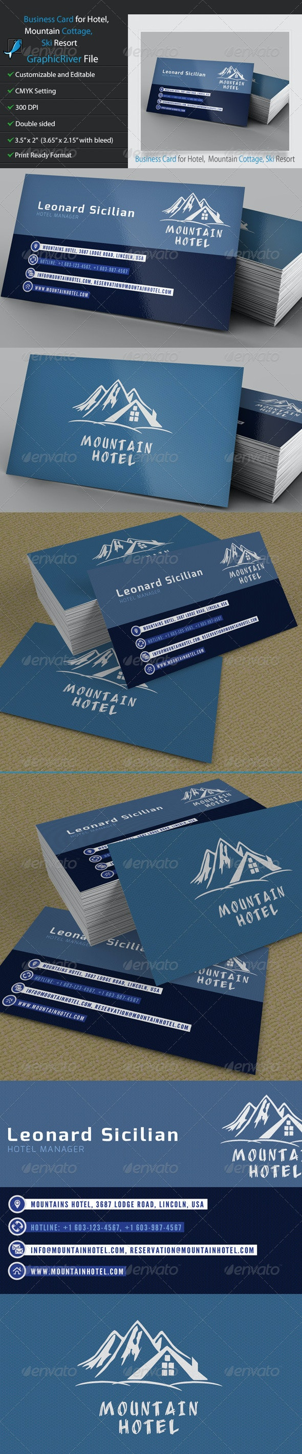 Business Card for Hotel, Mountain Cottage, Ski - Corporate Business Cards