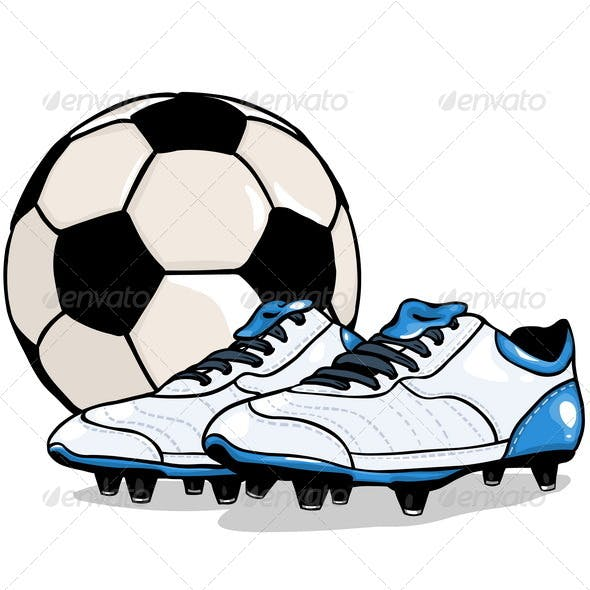 Vector Football Ball and Boots