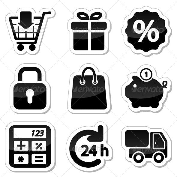 Shopping Icons on Stikers
