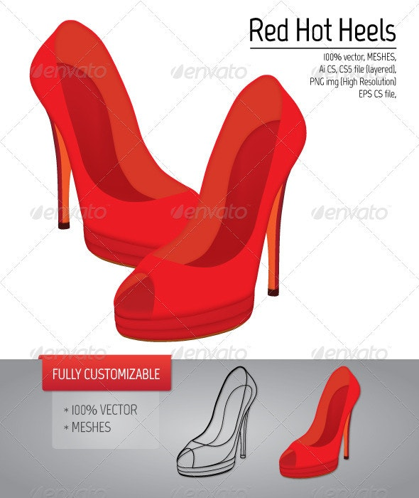 Vector Red Heels - Man-made Objects Objects