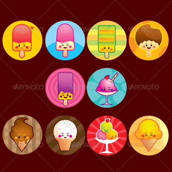 Ice cream buttons - Characters Vectors