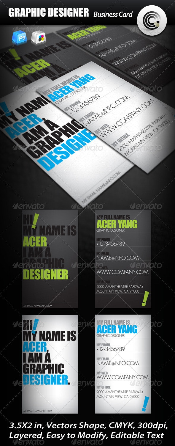 Graphic Designer Business Card - Creative Business Cards
