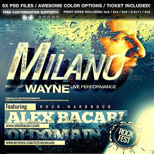 Milano Flyer/Poster Set + Ticket 5in1