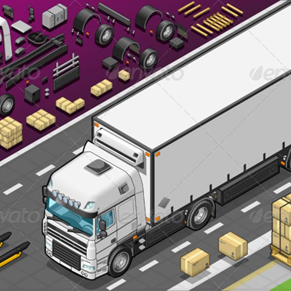 Isometric Fridge Truck in Front View