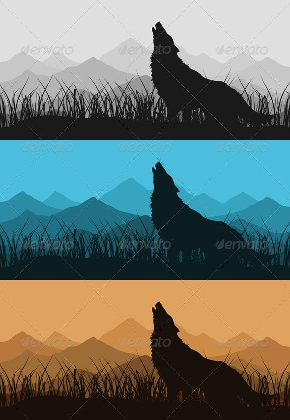 Wolf in mountains2 - Animals Characters