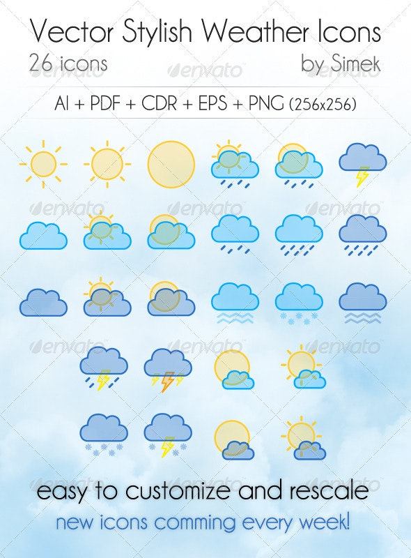 Vector Stylish Weather Icons - Web Icons