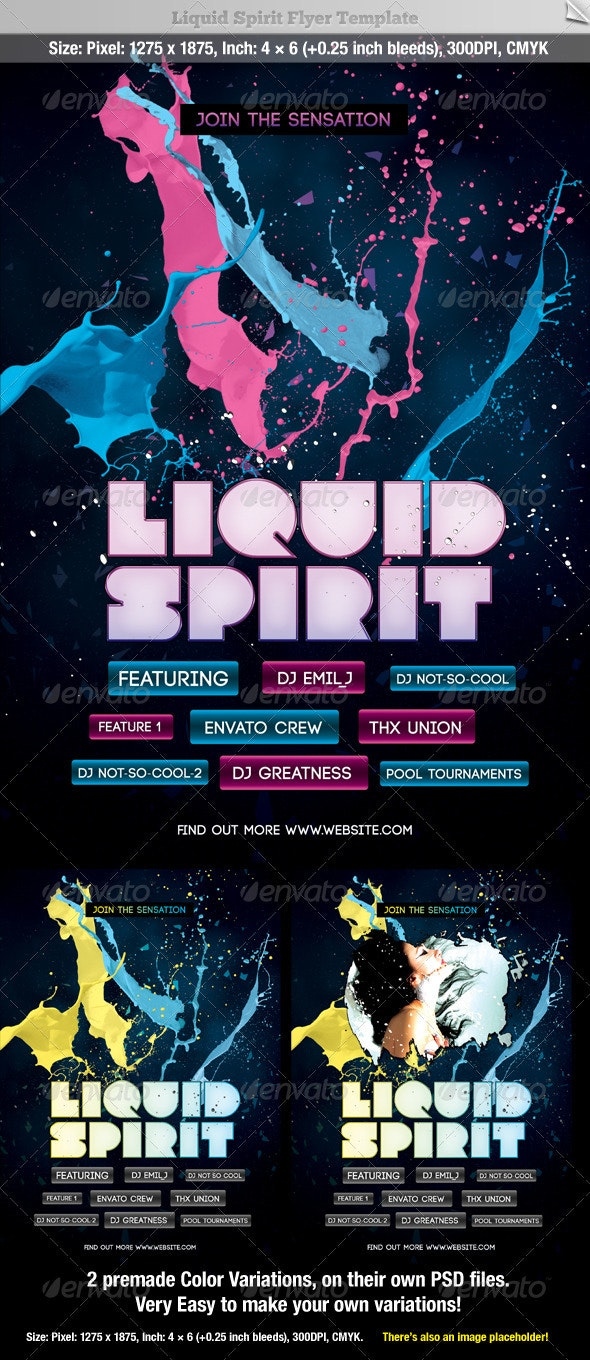 Liquid Sprit Flyer Template - Clubs & Parties Events